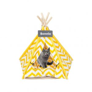 Bonnlo Pet Teepee with Thick Cushion and Backboard