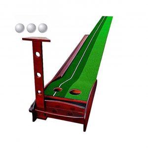 Sinolodo Wood Golf Putting Mat with Three Golf Balls