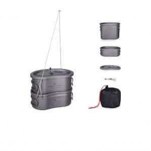 usharedo Titanium Camping Pots Set