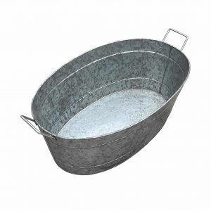 Benjara Silver Oval Shape Galvanized Steel Tub