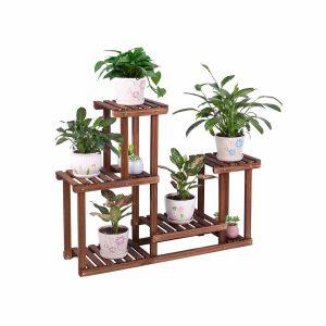 COOGOU Pine Wood Plant Stand 7 Flower Pots