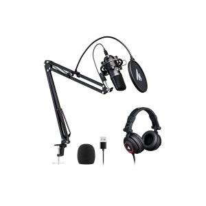 MAONO USB Microphone with Studio Headphone Set