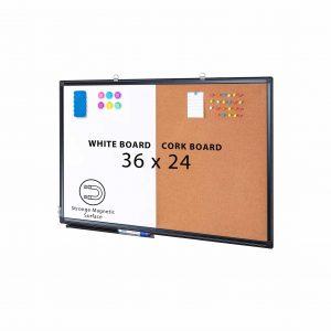 maxtek Combination Magnetic Cork Board & Whiteboard