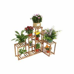 Corner Wood Plant Stand Holder 10 Tier Shelves