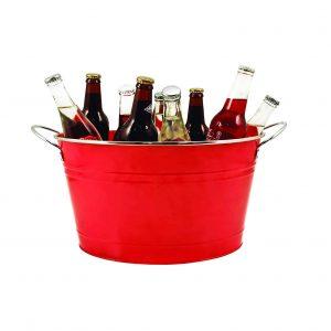 Twine Red Galvanized Metal Drink Bucket