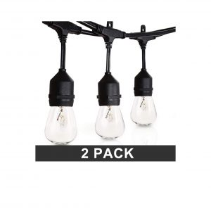 Amico 49Ft Outdoor String Lights 2 Pack 15 Hanging Sockets