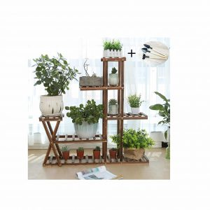 YOUFANG 5-Tier Wood Plant Stand