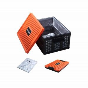 Mymazn Collapsible Trunk Organizer Plastic for SUV with Lid (Orange)