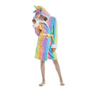 XVOX Adults Unicorn Soft Flannel Hooded Bathrobe