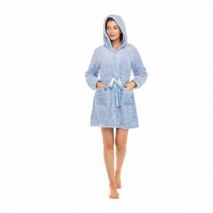 Alexander Del Rossa Women's Zipper Robe with Hood