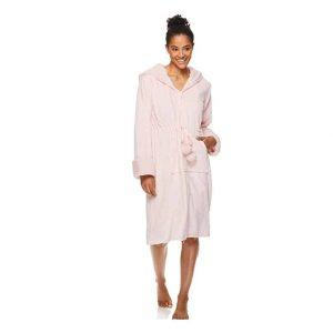 TAHARI Women's Hooded Zipper Plush Lounge Robe