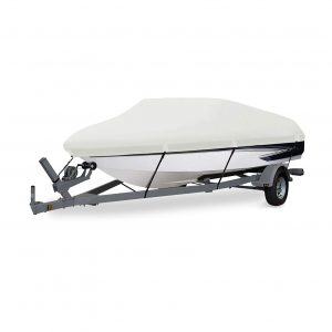 HAHASOLE Heavy Duty 600D PU Polyester Canvas Waterproof Boat Cover