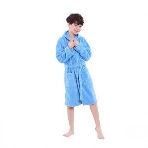 OUFANG Boys Girls Hooded Bathrobe for Kids
