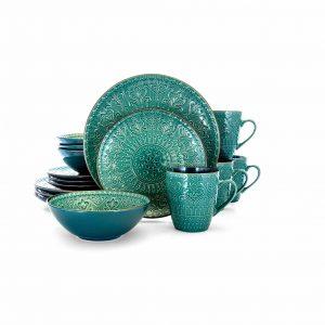 Elama Round Stoneware 16 Pieces Dinnerware Dishes