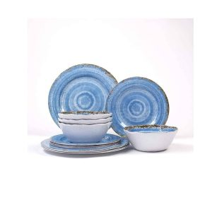 Nicole Home Collection 12 Pieces Rustic Blue Melamine Dinnerware