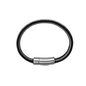 INOX Men's Stainless Steel Braided White and Black with Magnetic Clasp, 10mm
