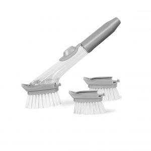 VEGOLS Soap Dispensing Kitchen Scrub Brush (Clear Gray)