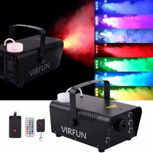 VIRFUN Halloween Fog Machine 500ml Tank 6 RGB LED Lights