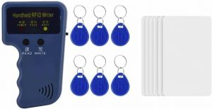 Zerone Handheld RFID ID Card Reader Writer with 6 Cards and 6 Writable Tags