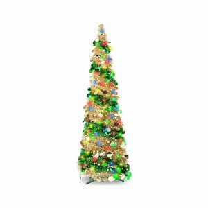 TURNMEON 5FT Tinsel Pre-Lit Xmas Tree 5 Color Lights