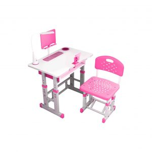 Websad Children's Multifunctional Study Desk Chair Set for Boy and Girls with Book Stand (Pink)