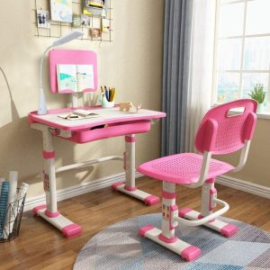 Yinleader Kids Chair and Desk Set with Touch Led Lamp and Adjustable Tilted Desktop (Pink)