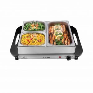 Chefman Electric Buffets Server with Three Dishes Adjustable Temperature