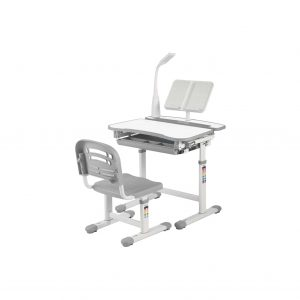 UNIHOM Kids Chair and Desk Set with Wood Tabletop and Touch Led, Grey