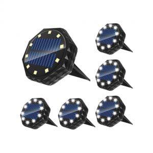 Tomekji Solar Ground Lights, IP68 Waterproof (6 Pieces)
