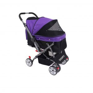 DODOPET 4 Wheel Dog Cage Stroller with Reversible Handlebar