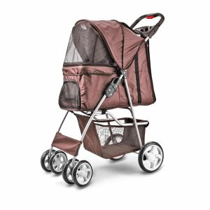 Flexzion Pet Stroller 4 Wheels 30Lbs with Sun Shade and Mesh Window