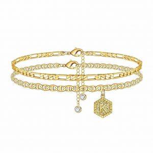 Memorjew Initial Ankle Bracelets for Women 14K Gold plated Teen Girls