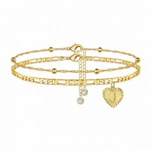 MONOOC Ankle Bracelets for Women Initial 14K Gold Plated for Women with Extension