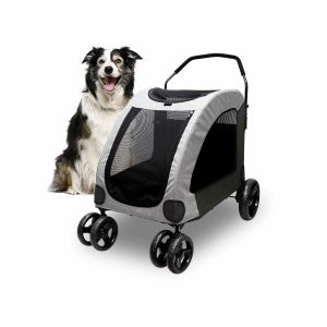 Petbobi 4 Wheel Dog Stroller Foldable Travel Carrier 120lbs