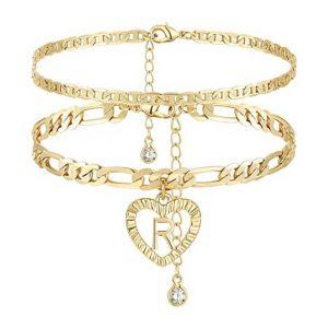 YANODA Initial Ankle Bracelets 14K Gold Plated Gift for Women Teen Girls