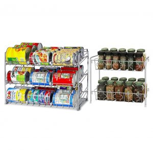 Simple Stackable Chrome Can Rack +2 Tier Spice Rack