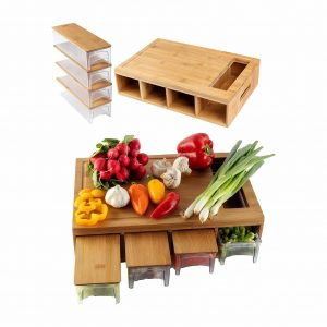 Bamboo Land cutting board with drawers