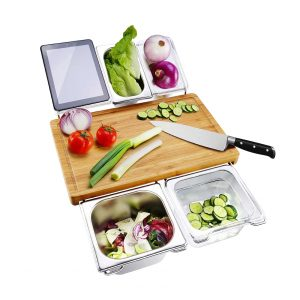 730 House Bamboo Cutting Board with Trays