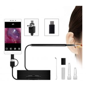 CODACE Ear Otoscope USB Endoscope Inspection Camera for Android and Wax Remover
