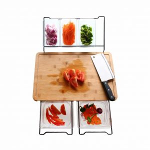 RoofWorld Bamboo Cutting Board with Containers