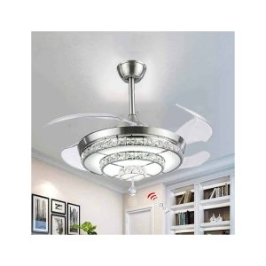 BIGBANBAN Crystal Ceiling Fan with Light and Remote