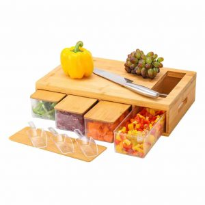 MJM Wood Cutting Board with Container