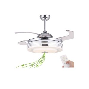 Nutcrust Retractable Ceiling Fan with Light and Remote