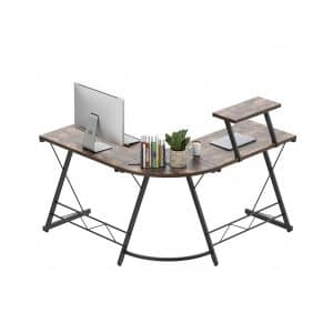 Amyove L-Shaped Corner Computer Desk with Monitor Stand